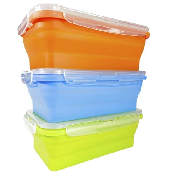 Flat Stack Collapsible Food Storage Containers Microwave Dishwasher Safe BPA Free