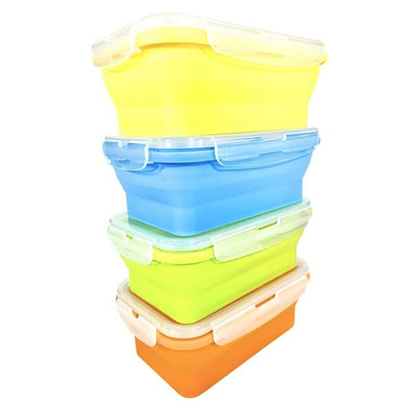 Flat Stack Collapsible Food Storage Containers Microwave Dishwasher Safe BPA Free Set of 4